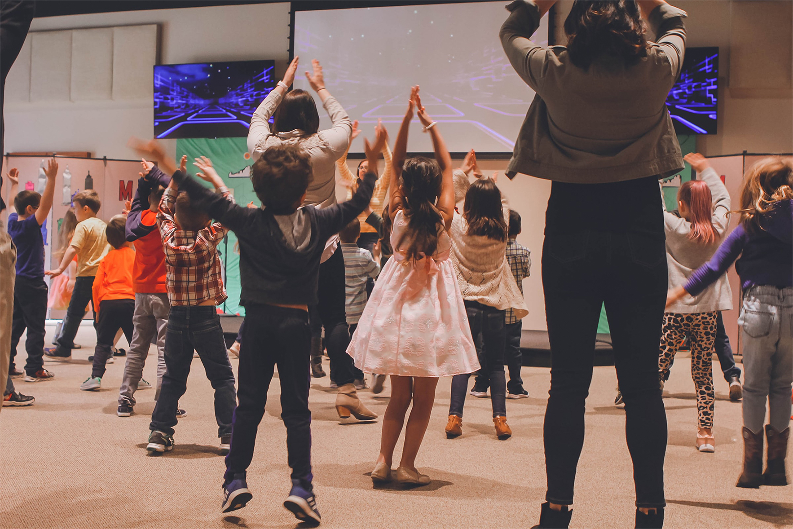 Children worshipping together.
